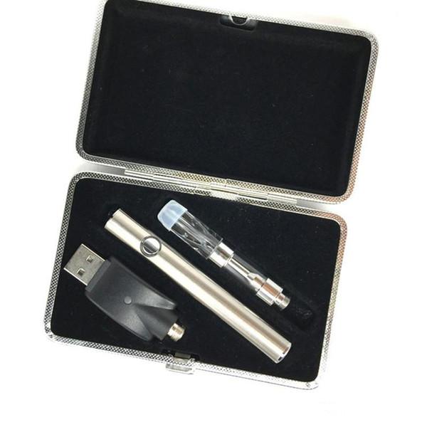 esmart 380mah preheating battery + thick co2 oil vape atomizer 510 vape cartridge packaging leather case e cigarette starter kits