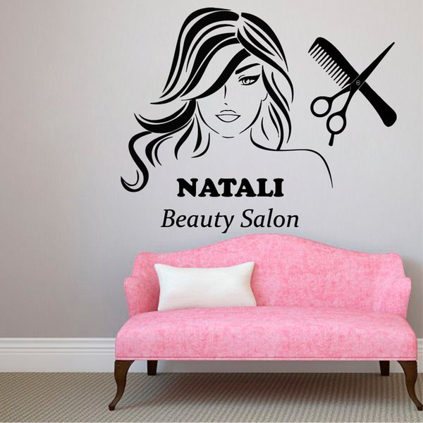 Personalized Custom Name Vinyl Wall Stickers For Girls Beauty Salon Wall home Decoration