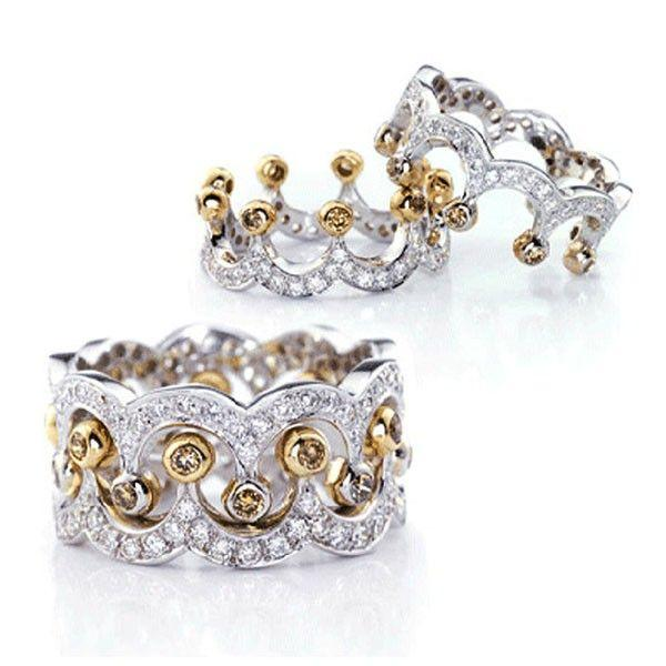 2018 New Arrival Stunning Luxury Jewelry 2PCS 925 Sterling Silver Gold 5A Cubic Zirconia Diamond Women Wedding Band Bridal Ring Set Gift