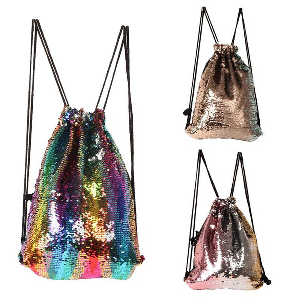 best selling Women Cosmetic Bags Fashion Glitter Back Pack Reversible Sequins Mermaid Drawstring Ladies Magic Sequins Bags for Girls