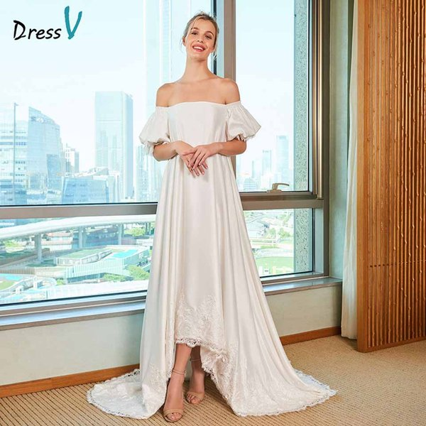 Atacado elegante a linha de vestido de noiva fora do ombro mangas curtas rendas até o chão vestidos de noiva ao ar livre