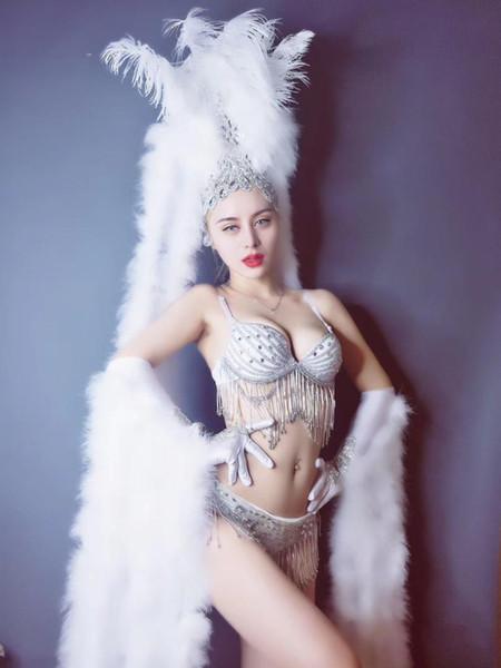 Festivali Parti Gece Kulübü Bar Kadınlar Sahne Kıyafeti Shining Kristaller Bikini Beyaz Tüyler Headdress Seksi DJ Dansçı Podyum Kostümleri
