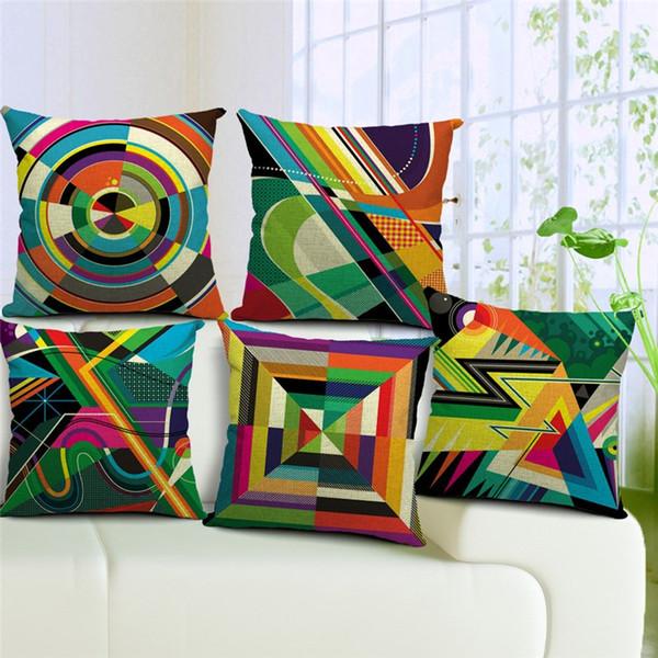 Pillow Case Geometric 45*45cm 5 Patterns Decorative Colorful Pillowcase Woven Cotton Linen Chair Seat Throw Cushion Pillow Cover