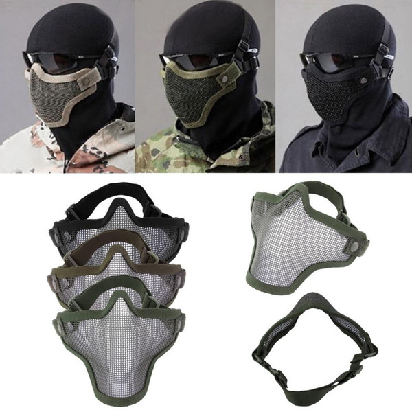 Wholesale-BB Bomb Game Half Face Metal Mesh Protective Mask Double Belt Air Soft Paintball Guard Protect CS