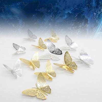 Luxury 12pcs/lot Gold Silver Hollow Butterflies 3D Cinderella Butterfly Vintage Home Decor Wall Art Removable Wall Stickers