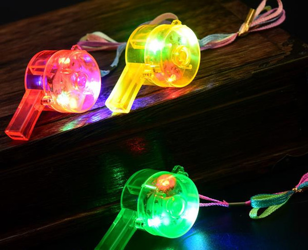 Flashing LED Whistle Blinking glowing Luminous Whistles + Rainbow Necklace Noise Maker Rock xmas Party Toy Gift concert fan atmosphere props