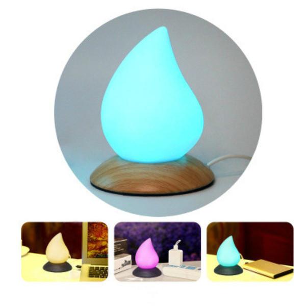 Multicolor Gota de Água calorosamente Cores LED Candeeiro de Mesa / Soft Silicone Toque Sensor de Luz Da Noite para As Crianças Quarto Decoração Lâmpada