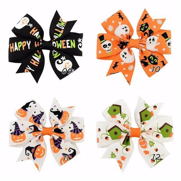 3 Inch Halloween Grosgrain Ribbon Bows With Clip 24 Pcs /Lot Ghost Pumpkin Pinwheel Hair Clips Hairpins Hair Pin Accessories 638