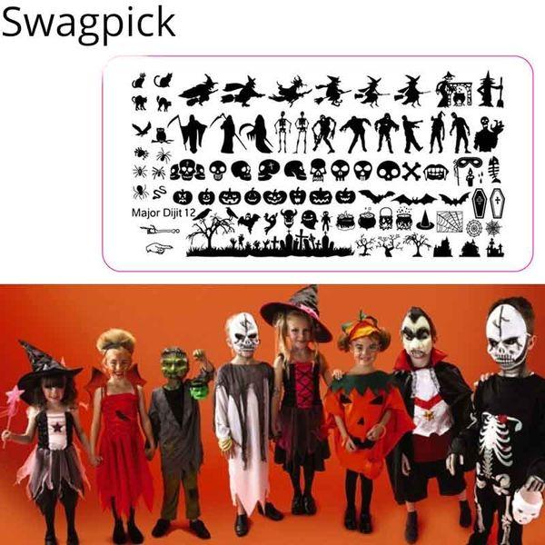 Swagpick 10 Estilo Punk Dia Das Bruxas Stamping Nail Art Castelo Fantasma Placa Retângulo Manicure Imagem Placa De Árvore Sino Bonito