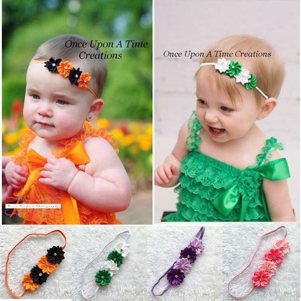 Venda de flores de cristal de los niños encantadores diadema floral del bebé de Halloween del bebé Headwear elástico accesorios de la fotografía del bebé accesorios para el cabello