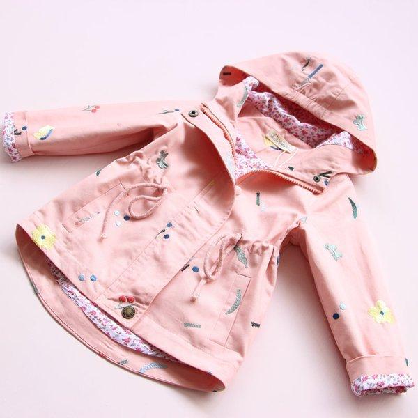 Han baskı çocuk giyim sıcak tarzı kız çiçek nakış trençkot beraberinde dize kapşonlu çocuk uzun ceket