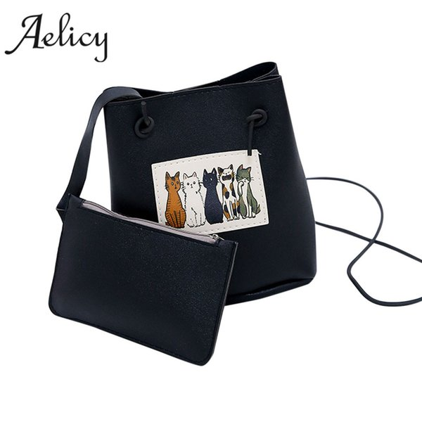 Aelicy High Quality 2pcs new design cat ladies hand bags pu leather bag female leather our brand soft crossbody bags for women
