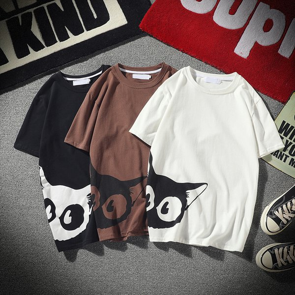Casual T Shirts Luxury Shirt Mens Short Sleeve Summer Clothing Cat Print Cute Straight for Men Plus Size M-5XL