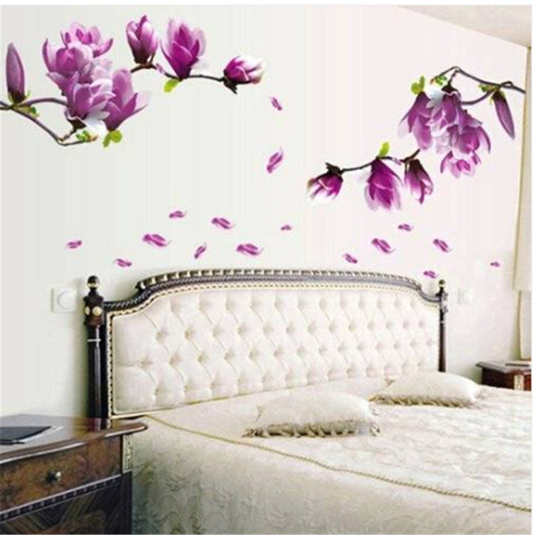 wholesales magnolia pattern removable wall stickers for bedroom backdrop tv