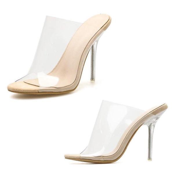 38ca0cba3d 2018 New Women Perspex Mules Clear High Heel Peep Toe Sandal Slip On Comfy  Shoes