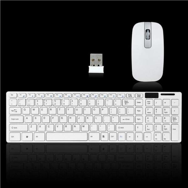 Clavier d'ordinateur Set Ultra mince Thin 2.4GHz sans fil clavier avec couvercle + souris pour ordinateur portable de bureau PC Combos