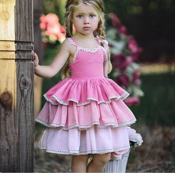 Girl Ombre Dresses Baby Girl Clothes Princess Lace Summer Dress Kids Girl Singlet Cake Dress kids clothing