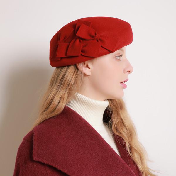 New Red Preto Australiano De Lã De Inverno Boina Chapéu Dupla Bowler Fedora Cap Moda Francesa Senhoras Outono De Lã Sentiu Boina Chapéu Das Mulheres