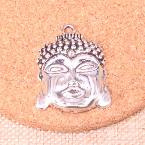 21pcs argento antico testa di buddha pendenti charms bracciali adatti collana di gioielli in metallo fai da te fare 40 * 30mm