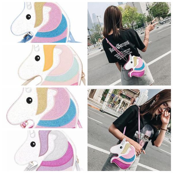 Ins Unicorn şekli omuz çantası çanta Kadın Renkli Pullu Sevimli Unicorn Tasarım Crossbody Messenger Çanta Casual Bayanlar Çanta KKA5076