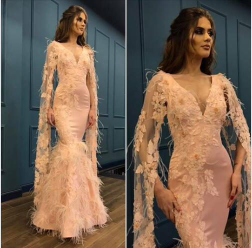 Sexy Mermaid Pink Long Sleeve Evening Dresses Sleeves Picture 2019 Feathers Long V Neck Designer Party Prom Dresses