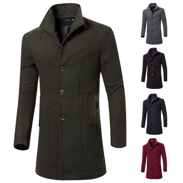 Nueva llegada de moda cortaviento trinchera otoño invierno de lana prendas de vestir exteriores Slim Fit chaqueta informal envío gratis