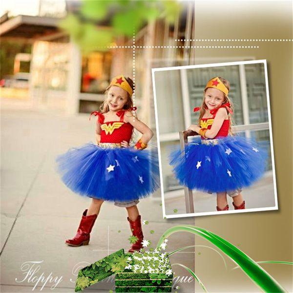 Christmas Halloween Supplies Costume Girl Witch Captain America Spiderman Netting Show Princess Tutu Dress U 1