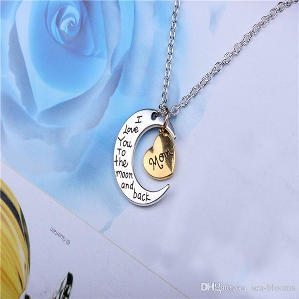 10 Styles I Love You To The Moon and Back Necklace Charms Choker Heart Pendant Necklaces Fashion Jewelry Mother/Father Day Couple Gift J1SF