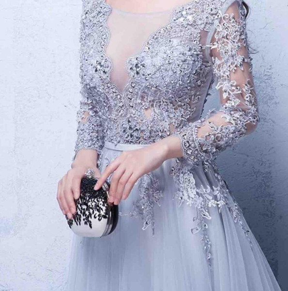 Free Shipping Designer Occasion Dresses Evening Vestidos de Noiva Scoop Neck Appliques Prom Gowns Lace Up with Long Sleeves