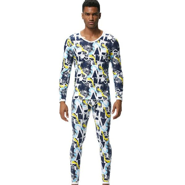 Fashion Winter Thermal Underwear Male Set Young Colorful Print Thick Sleepwear for Men Warm Pants Thermal Tops Long Johns Suits 729