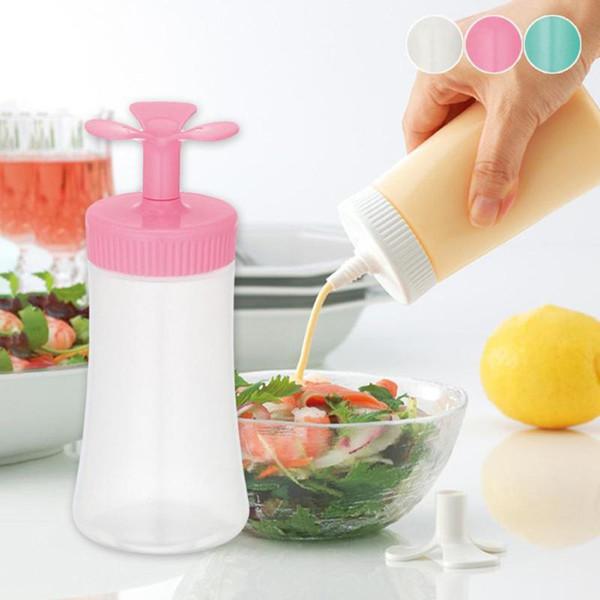 Tapas de botellas de aceite de la cubierta de flores para el almacenamiento Botellas de almacenamiento de especias a prueba de fugas Botellas de salsa de ensalada de plástico Suministros de cocina S3