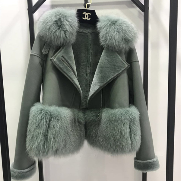 7 Colors Autumn Winter Warm Real Fur Coat Women With Real Fox Fur Trim Genuine Suede Leather Fur jackets S18101203