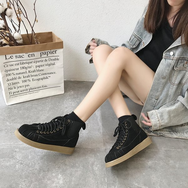 Shoes Women Lace Up Martin Boots Cow Suede Ankle Boots Black Flat Heels Round Toe Low Heels Sewing Shoes Female Shoes Cool Women