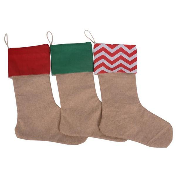 12 * 18 pulgadas 2017 Nueva alta calidad de la lona de Navidad medias de regalo bolsas de Navidad calcetín de Navidad decorativos calcetines bolsos
