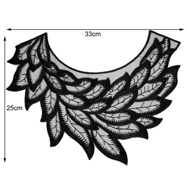 Black Feather Lace Fabric Embroidery Tulle Neckline Flower Lace Fabric Sewing Accessories Supplies Scrapbooking BW084
