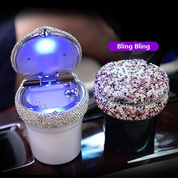 Luxury Fashion Car Ashtray Multifunctional Blu-Ray LED Auto Ashtray with Bling Bling Crystals for Women Great Gift