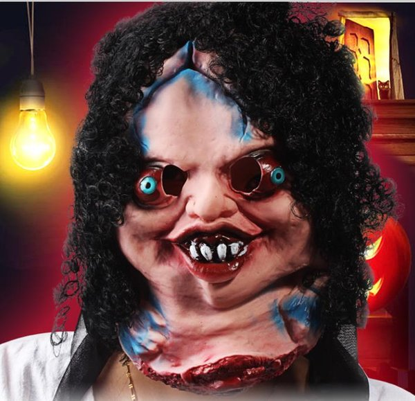 Terror Halloween mask black hair bad mother-in-law afraid buckteeth faces terrorist mask halloween prop devil mask