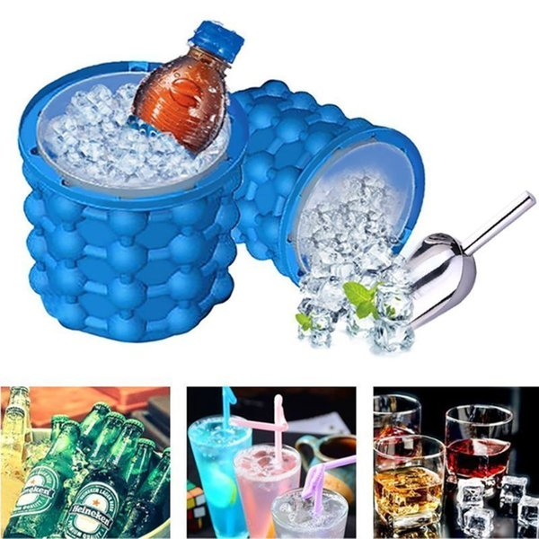 Home Kitchen DIY Ice Cube Maker Genie Silicone Space Saving Ice Cubes Molds For Chilling Whiskey 3884