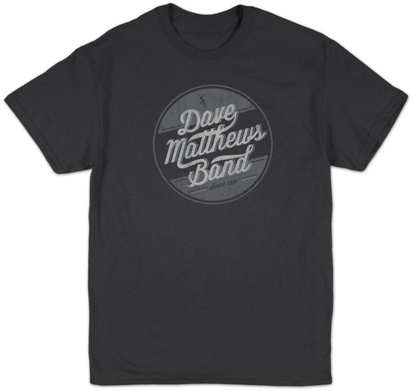 Auténtico DAVE MATTHEWS BAND Círculo Logo Slim-Fit Camiseta Charcoal S-2XL NUEVO Mens 2018 fashion Brand T-Shirt O-Neck 100% algodón Camiseta
