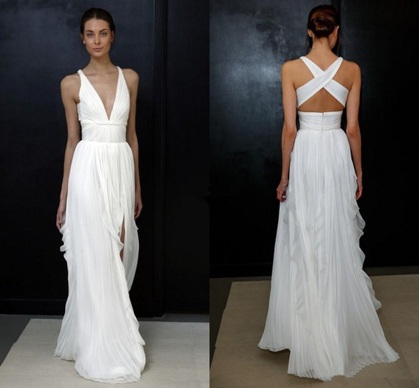 2018 Beach Wedding Dresses for Greek Goddess Simple Brides Wear Sale Cheap Long Pleated Split Full Length Skirt Bohemian Boho Bridal Gowns