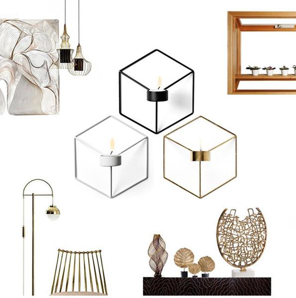 Nordischen Stil 3D Geometrie Kerzenhalter Metallwand Sechseck Kerzenhalter Wandleuchte Teelicht Passende Hochzeitsdekoration Wohnkultur