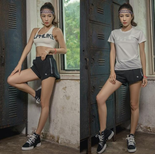 Cheap 3 Piece Women Yoga Sports Suits ( Bra Shirt Short) Fast Dry Workout Athletic Set White Black Grey Plus Size