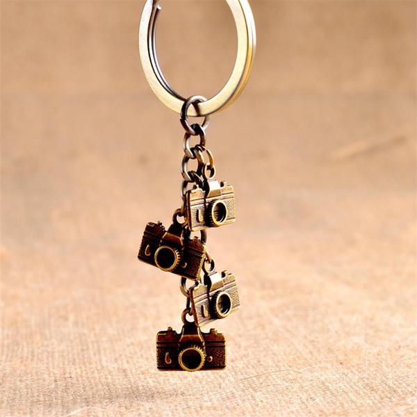 Women Men Vintage Bronze Mini Camera Key Buckle Pure Color Metal Alloy Keychain Bag Automobile Pendant 2 8mt ff