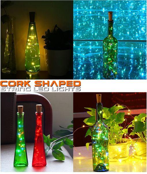 2M 20LEDs Solar Cork Weinflasche Stopper Kupferdraht String Lichter Feen Lampen