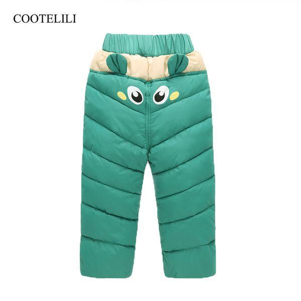 Cooleri menina menino calças de inverno de algodão acolchoado grossas calças quentes calças de esqui à prova d 'água elástico de cintura alta do bebê criança