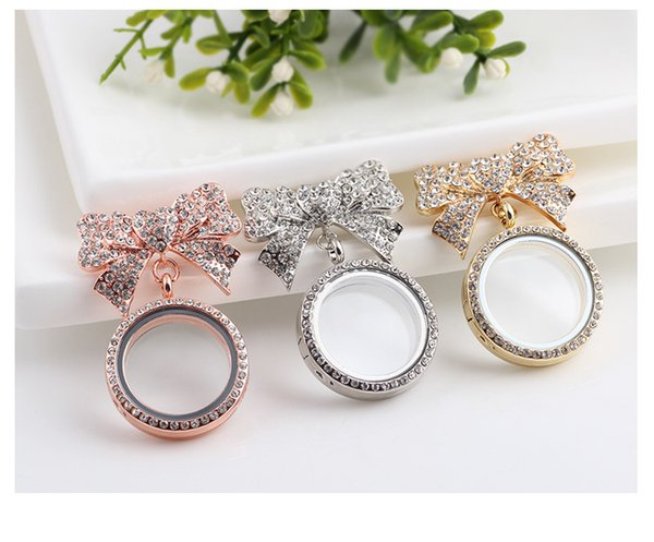 best selling 3PCS Diamond-set Bows Transparent Glass Frame Brooch Living Memory Lockets Fit DIY Floating Charms Pendant Jewellery