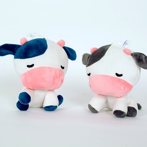 Cartoon Cute Little Cow Doll Plush Toy Sucker Lanyard Cow Toy Home Decoration Children Holiday Birthday Gift Wholesale