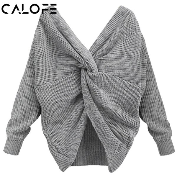 CALOFE Sweaters Female Autumn Pullover Ladies V Neck Cross Knitting Women Oversized Sweater Sexy Backless Long Sleeve Jumpers