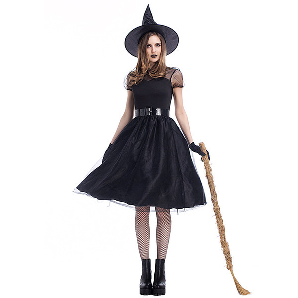 Halloween Black Yarn Witch Cosplay Costume Witches Suit Temperament Night Ghost Game Clothes Party Queen Dress with Hat Belt Gloves