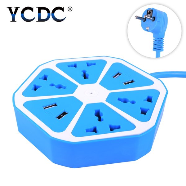 YCDC Extended Powercube USB Plug 4 Outlets 4 Ports Power Adapter Extension Cable Multi Switch Socket Strip EU